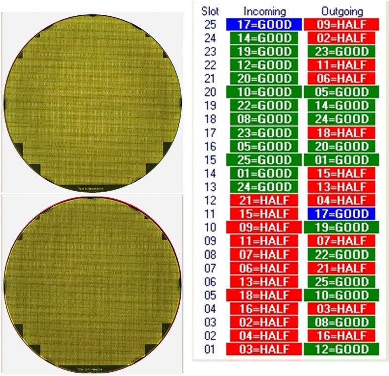 HALF WAFERS DEFECT  - Semiiconductor Wafer Macro Defect Image - 1